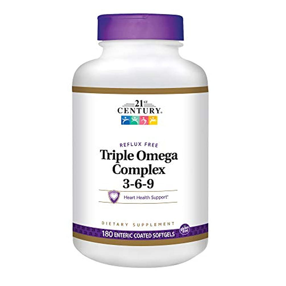 くびれた柔和蒸発する21st Century Health Care, Triple Omega Complex 3-6-9, 180 Enteric Coated Softgels