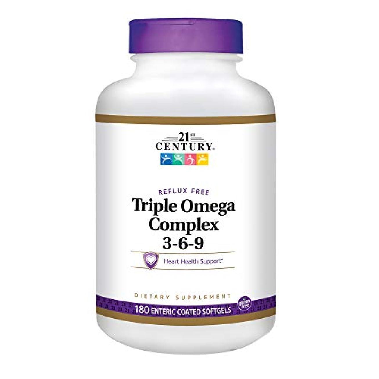 あご太平洋諸島クロール21st Century Health Care, Triple Omega Complex 3-6-9, 180 Enteric Coated Softgels