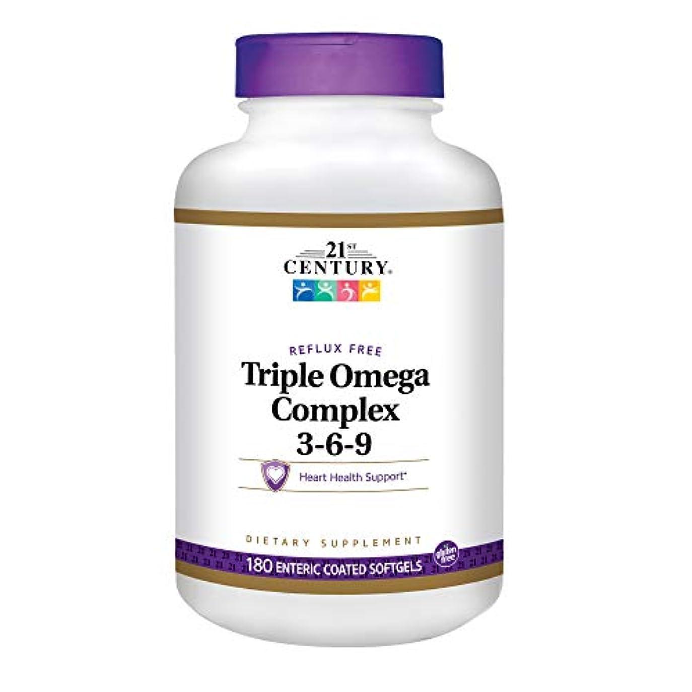 立法ドライブ藤色21st Century Health Care, Triple Omega Complex 3-6-9, 180 Enteric Coated Softgels