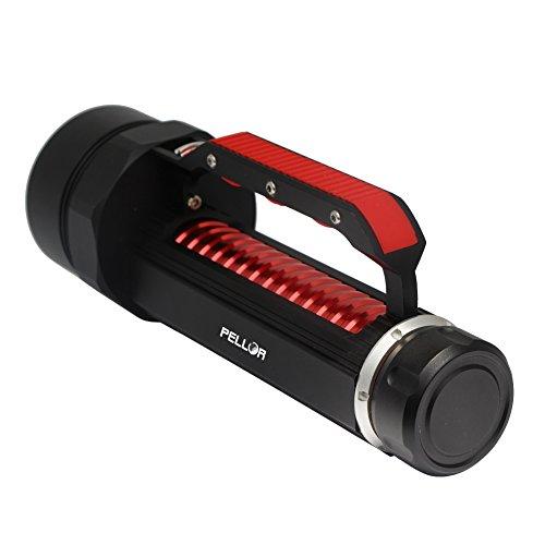 Pellor 6000ルーメン 6灯 充電式LED水中ライト ダイビング仕様  CREE XML- L2 LED  最大120mダイビングライト 2-3時間連続点灯
