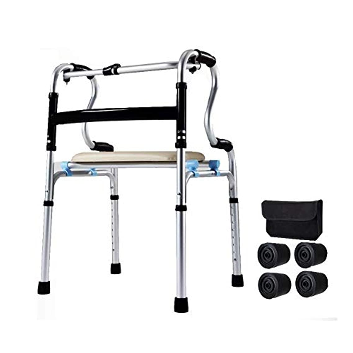 高齢者折り畳み式歩行器、肘掛けパッドと車輪で調整可能高齢者はスムーズで清掃が簡単+シート+バッグ