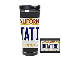 カリフォルニアタイムマシン映画ナンバープレートのアウトタイムサーモスカップ - 水筒 - ウォーターカップ - コーヒーカップ - 533ml