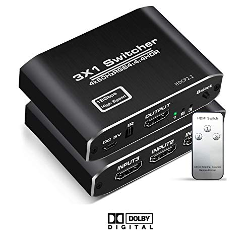 HDMI切替器 HDMIスイッチ HDMI 2.0 4K 3入力1出力 HDCP 2.2 4K@60Hz HDR 3D HD1080P IRリモート付き PS4 / Xbox/Apple TV/Fire Stick 対応