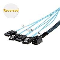 CableCreation Mini SAS 36ピン( SFF - 8087)オスto 4SATA 7ピンメスケーブル、Mini SASホスト/コントローラto 4SATAターゲット/バックプレーン、0.5M 1.6 Feet