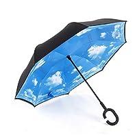 反転逆車の雨可逆傘は、ファッション防水傘を反転した創造的な革新的な屋外ゴルフスポーツ風防,C