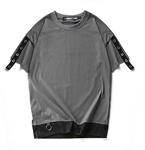 (Make 2 Be) メンズ 半袖 Tシャツ プルオーバー レイヤード クルーネック 飾りベルト Dカン Dリング サイドスリット 辛口 クール MF57 (13.Gray_2XL)