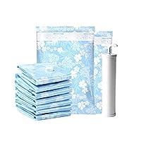 Jinfengtongxun バッグ、真空圧縮バッグ、旅行用収納バッグ、キルトの衣類を収納できます、スカイブルー、手動ポンプを含む花柄、,再利用可能 (Color : Blue, Size : 80*60cm)