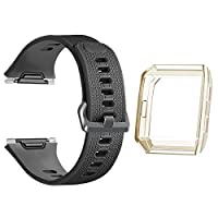 Fitbit Ionic Bands with Case , oenfotoクラシックTpu交換用ストラップfor Fitbit Ionic Smart Fitness Watch , Large Small