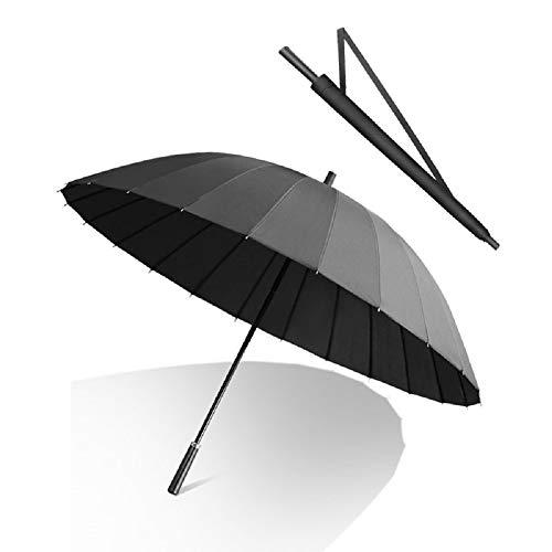 Happy GO 傘 長傘 メンズ 70cm/24本 強化グラスファイバー傘骨 耐強風 130cm広い傘面 3人カバー可能 撥水加工 大きな取っ手 男女兼用 収納ポーチ付き (ブラック)