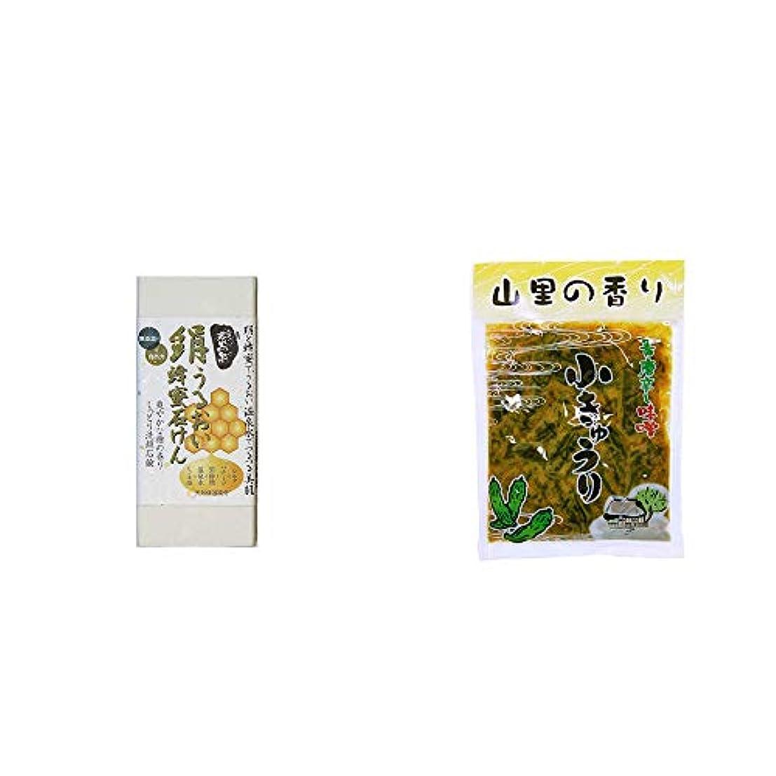 毒液トラフ絵[2点セット] ひのき炭黒泉 絹うるおい蜂蜜石けん(75g×2)?山里の香り 青唐辛し味噌 小きゅうり(250g)