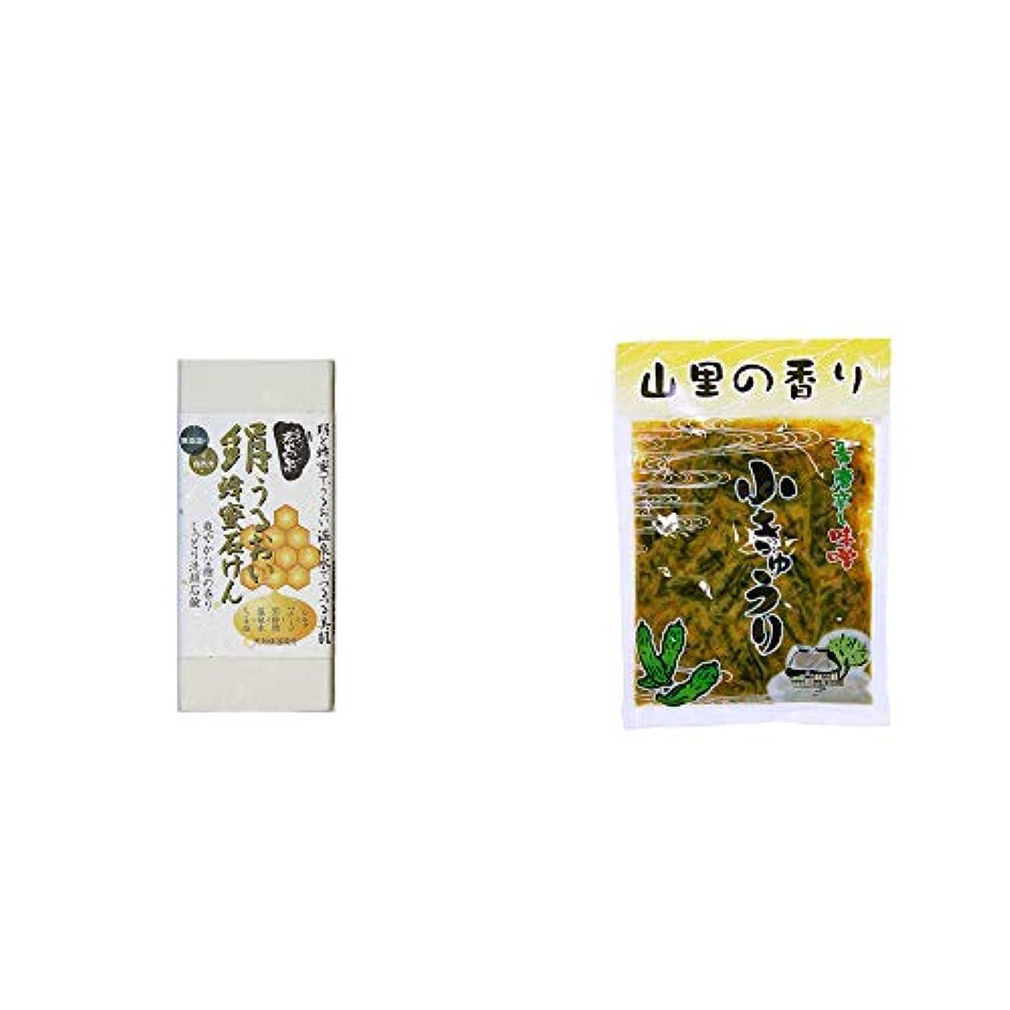 着飾る自然公園考古学[2点セット] ひのき炭黒泉 絹うるおい蜂蜜石けん(75g×2)?山里の香り 青唐辛し味噌 小きゅうり(250g)