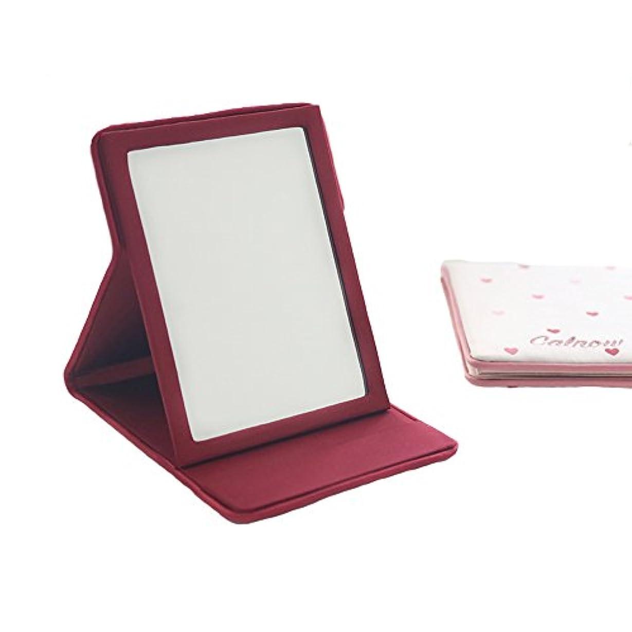 強調するヒューム立方体MYOMYO化粧鏡 卓上ミラー 卓上スタンドミラー 折りたたみミラー 旅行鏡 旅行適用 (ピンク)