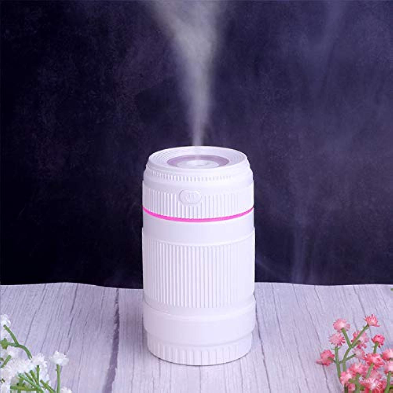 BUCNW home シミュレーションレンズusb加湿器オフィスデスクトップ車のポータブル超音波空気クリエイティブミニ浄水器 (Color : White)