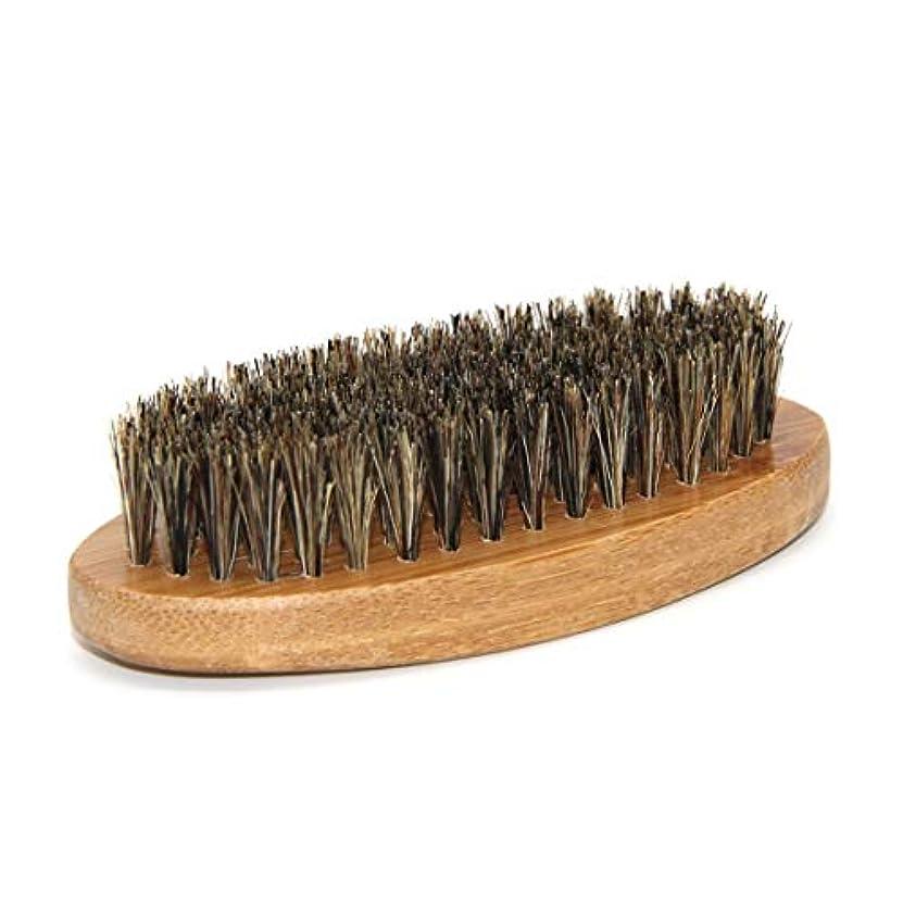 処理テラスこしょう男性イノシシ毛剛毛髭口ひげブラシミリタリーハードラウンドウッドハンドル - ブラウン