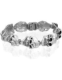 Bling Jewelry Stainless Steel Mens Goth Wide Skull Link Bracelet 8.5in