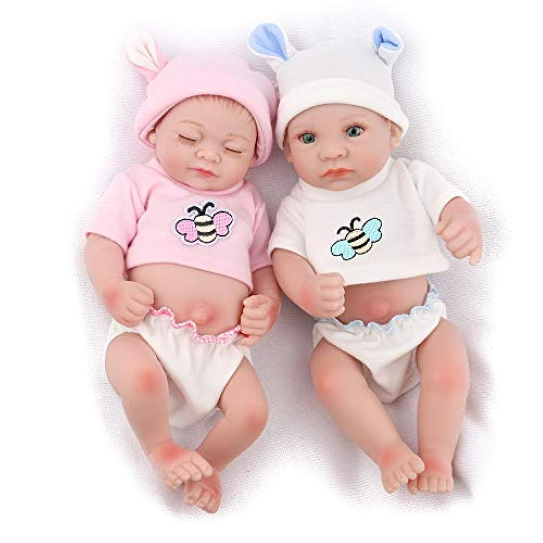 Kaydora 10インチフルシリコンリボーンベイビー男児と女児の双子の人形 洗濯可能 手作り 体のしわまでリアルな人形 白とピンクのセット
