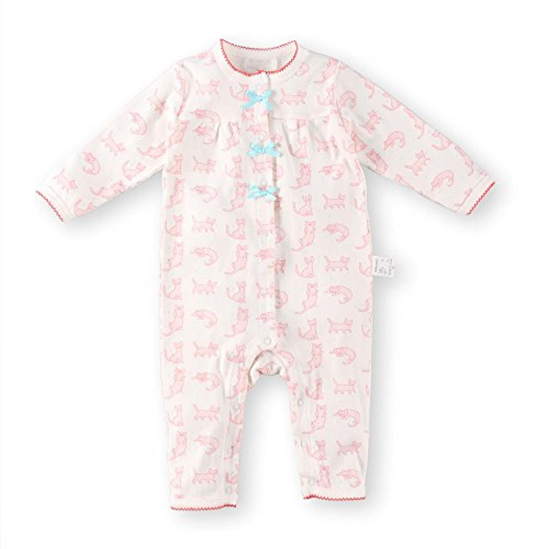 Baby Nest ベビー用 ロンパース カバーオール 前開き 女の子 男の子 長袖 ネコ柄 コットン100% ピンク-1 3-6M