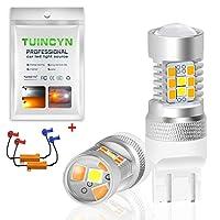 TUINCYN 3157 3156 LEDスイッチバックターンシグナル電球CANBUSエラーフリーホワイト/アンバーデュアルカラー3155 3457 3057 4057 2835 21 SMD LED 50W 8Ω3157 Led負荷抵抗付きオートブレーキライト(2パック)