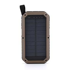 Sugela 8000mAh 3ポート モバイルバッテリー ソーラーチャージャー スマホ充電器 補助照明LEDライトiPhone / iPad /Xperia / Galaxy /Androidなど対応 携帯便利ポケモンGO用ビジネスの現場 アウトドア 登山 旅行 ハイキング 地震や災害による停電にも (黄)