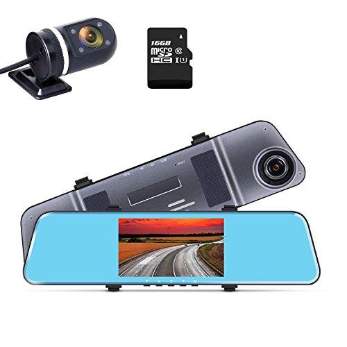 ドライブレコーダー 前後カメラ バックミラー型 ADAS 先進運転支援システム HDR 1296PフルHD 200万画素 120度広角 16Gカード付き 衝撃録画 Gセンサー 駐車監視 上書き録画 5.0インチIPS 12ヶ月保証
