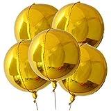 Lumierechat バルーン 風船 ゴールド シルバー 円形 円形形状 アルミバルーン 丸風船 巨大 大きい 55㎝ 装飾 飾り 5枚 セット a-9666(5枚/ゴールド)