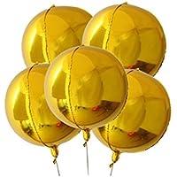 Lumierechat バルーン 風船 ゴールド シルバー 円形 円形形状 アルミバルーン 丸風船 巨大 大きい 55㎝ 装飾 飾り 5枚 セット a-9666 (5枚セット, ゴールド)