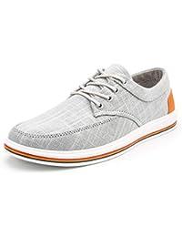 [Tisomen] ウオーキングシューズ メンズ ジュニア スニーカー リネン モカシン デッキシューズ 無地 アウトドア スリッポン カジュアル 大きいサイズ 幅広い レースアップシューズ 運動靴 通勤 通学 軽量 通気
