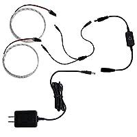 タッチ式ミニ調光器(黒) + 100Vアダプター + 防水 LEDテープライト 1チップ 白色 50cm×2本セット