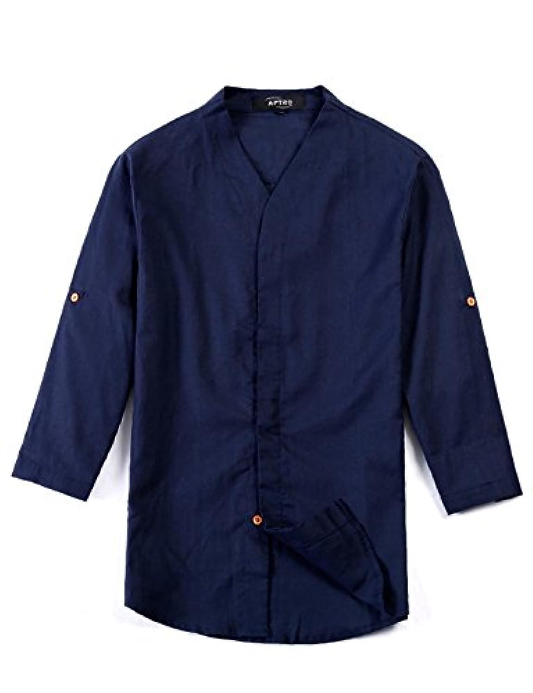 APTRO(アプトロ) リネンシャツ メンズ ワイシャツ 七分袖 夏 カジュアル クールビズ 無地 半袖シャツ