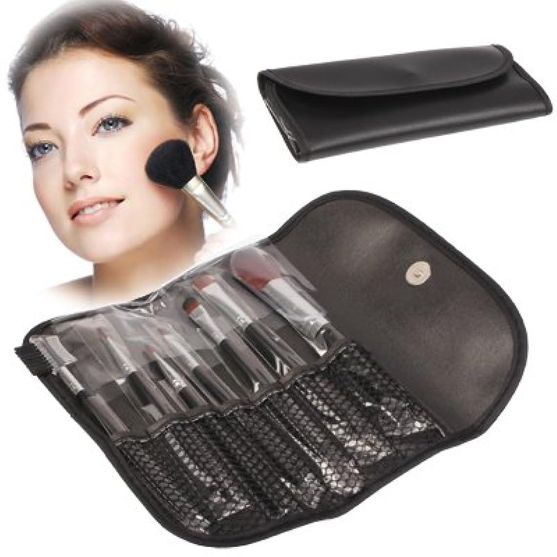 スキニー前ミットMEI1JIA フェイシャルケア製品をブラシ7PCS女性のためのQUELLIA折り畳み式の合成皮革化粧ブラシケースバッグキットセット(ブラック)