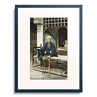 Signorini, Giuseppe 「An Arab, Holding Prayer Beads And Smoking A Pipe.」 額装アート作品