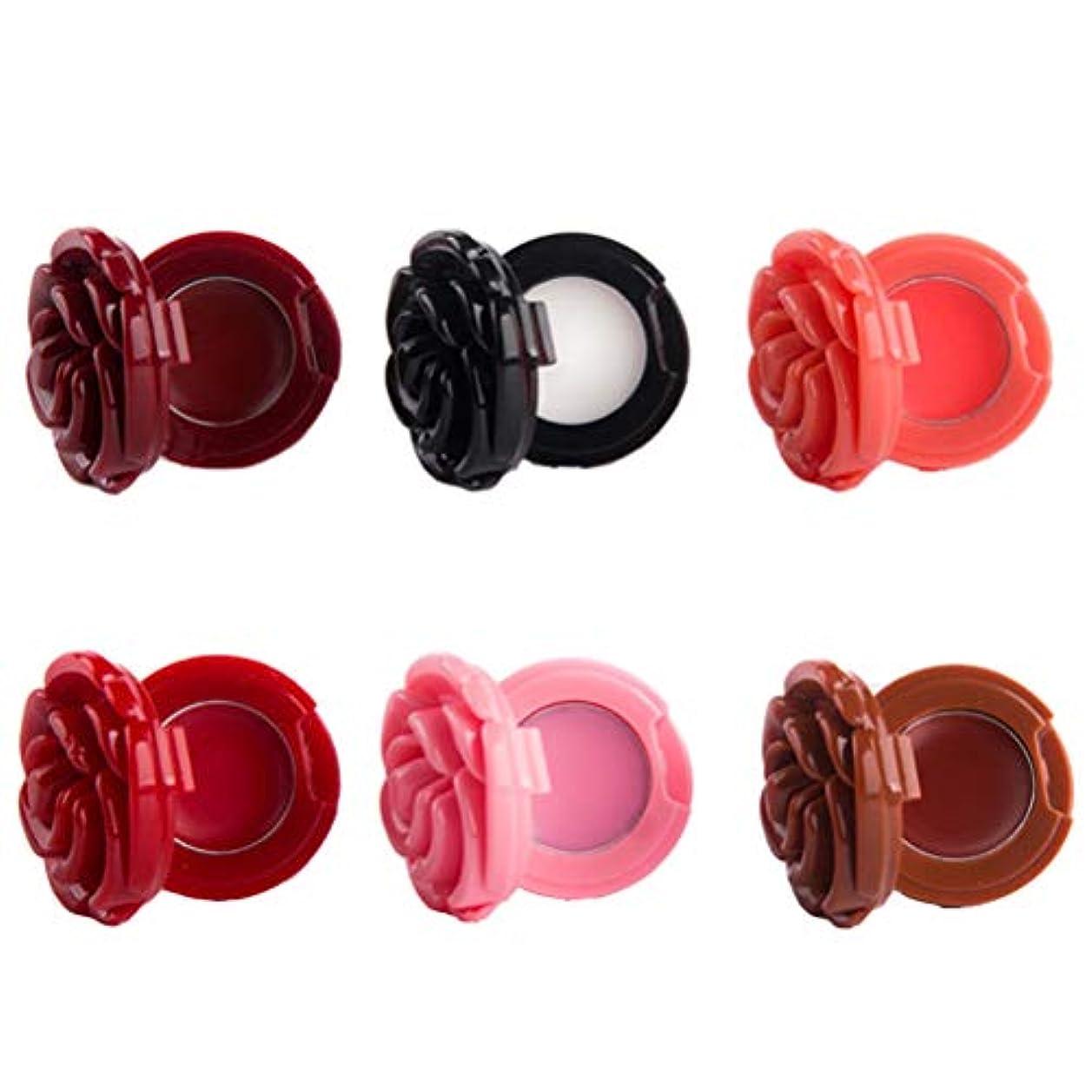 サロンスキャンダラスフェローシップBeaupretty 6ピース花の形の空の化粧容器詰め替え式容器付きミラーDIY化粧容器ケース口紅リップクリームアイシャドウ(合金パンなし)