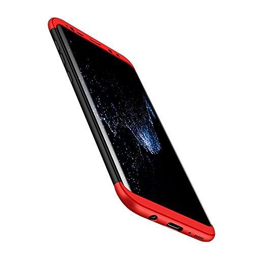 Imikoko Galaxy Note 8 ケース ギャラクシー Note8 360度フルカバー 携帯カバー 薄型 三段式 3パーツ式 おしゃれ ハードケース 耐衝撃 (Galaxy Note 8, レッド&黒)