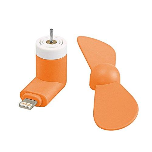 オレンジ Orange SelfieポケットサイズMini Fanアクセサリー(2in1コネクタ付き)Celkon S1のマイクロUSBとIOS