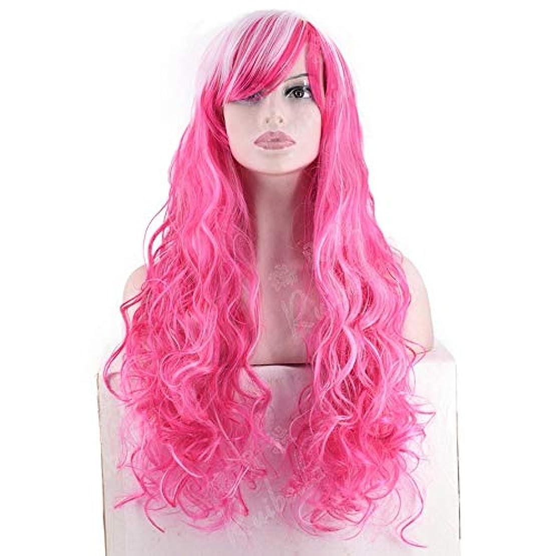 かわすクリーク病んでいるHOHYLLYA 斜めの前髪付きコスプレウィッグレディーピンクの長い巻き毛フルヘッドコスプレウィッグ女性の合成のかつらレースのかつらロールプレイングかつら (色 : ピンク)