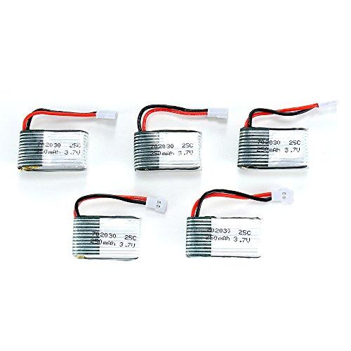 FLOVEME 5pcs Li-Poバッテリー 3.7V 250mAh LiPO 電池 25C リチウムポリマー 充電式バッテリー Li-Po RC飛行機用 ラジコンヘリプレータに適用されます