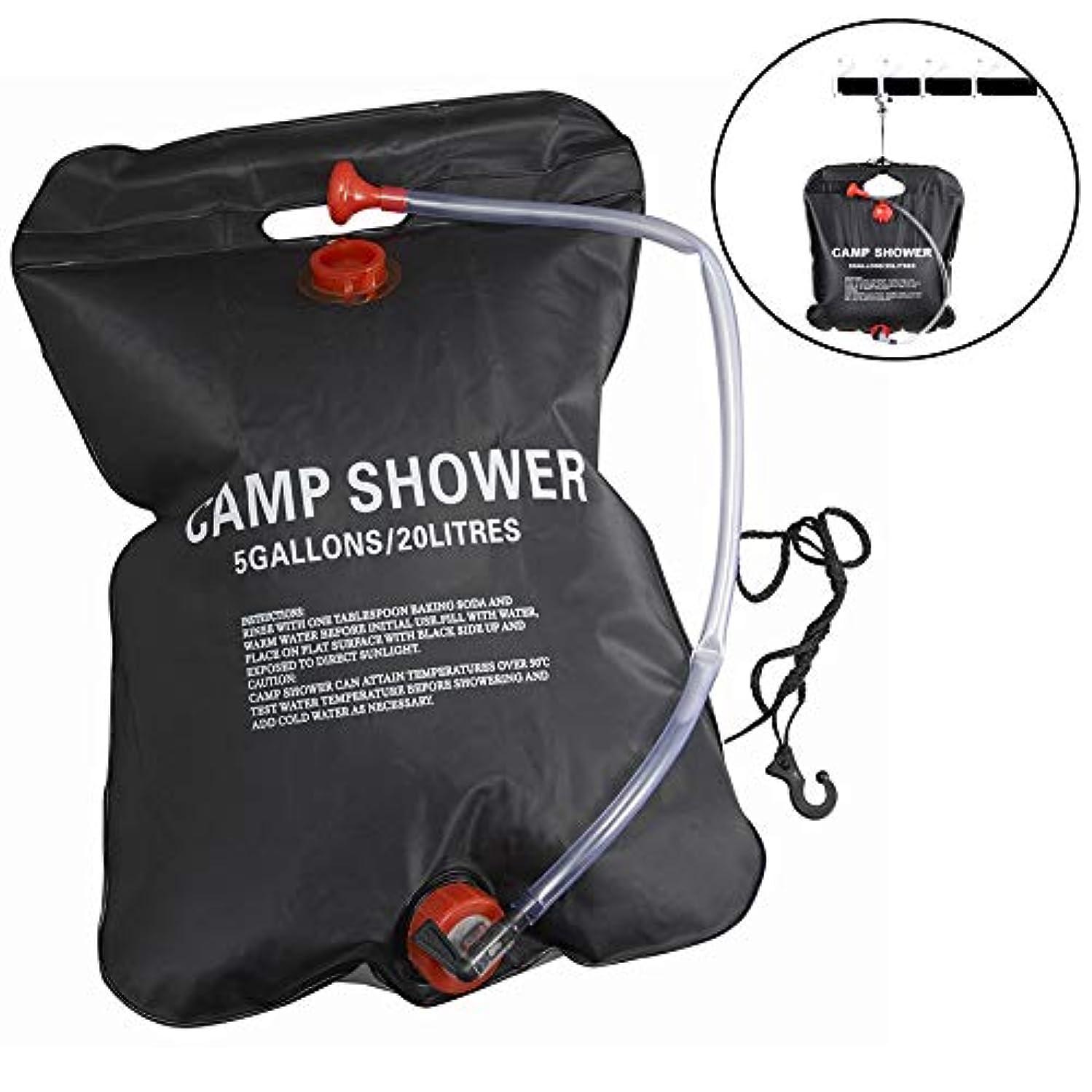 居心地の良い小康寸前Meanhoo 20L/5ガロン キャンプ ソーラー シャワーバッグ ポータブル アウトドア キャンプ ハイキング シャワー シャワーバッグ 加熱バッグ PVC ウォーターバッグ