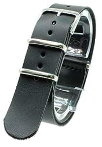 [2PiS] ( ブラック : 20mm ) NATO 腕時計ベルト 合皮レザー 替えバンド ストラップ 交換マニュアル付 19-1-20