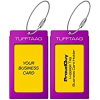 Luggage Tags Business Card Holder TUFFTAAG Travel ID Bag Tag in Many Color Options