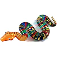 ガラスの動物 ヘビ 手作り手吹きガラスの ガラス細工 ガラスの置物 ガラス ミニチュア 動物の置物 家の装飾 玩具動物園キッ - Miniature Dollhouse Animals snake figurines Glass Blown Toy Zoo Kid 002