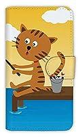 [アングラーズケース] 【手帳型】猫と釣り 晴天なり スマホ ケース (商品コード: diary2015110711)