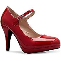 OLIVIA K Women's Mary Jane High Heel - Cute Round Toe Block Heel - Classic Comfortable Easy Dress Shoe