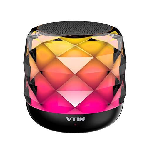 VTIN Bluetoothスピーカー ワイヤレススピーカー コンパクト 高音質 LEDポータブルスピーカー ワイヤレス スピーカー LEDライト 軽量 持ち運び便利 三つ変光モード調整可能/内蔵マイク/LED搭載 ハンズフリー通話 TFカード対応 18か月保証付き A20 Pro