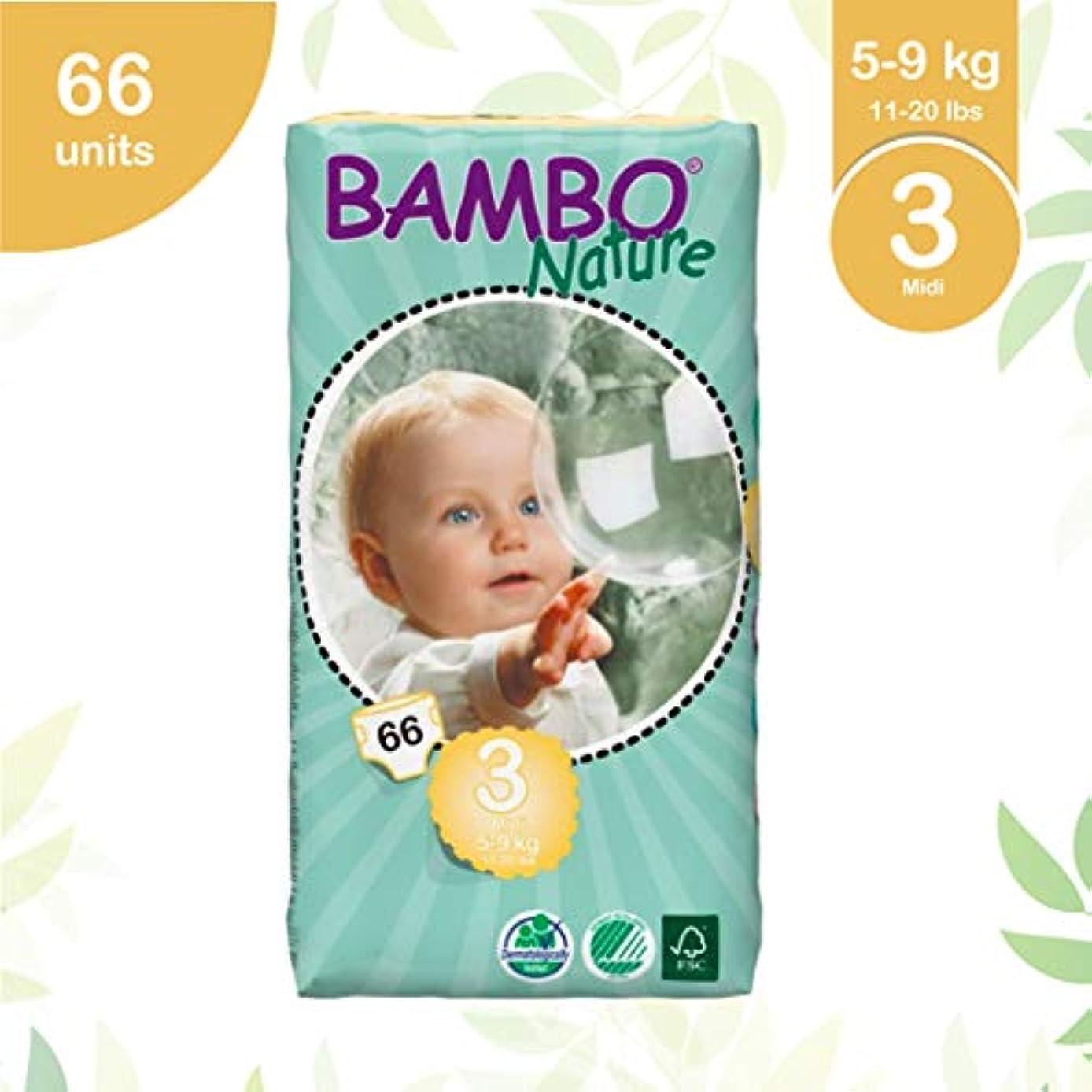 ラフ湿原責任者BAMBO Nature プレミアム紙おむつ ミディ 3号 テープ トール 66枚入り