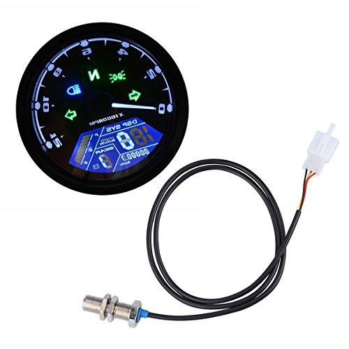 ノーブランド品 バイク用 52mm LCD デジタル スピードメーター 防水 CS-363