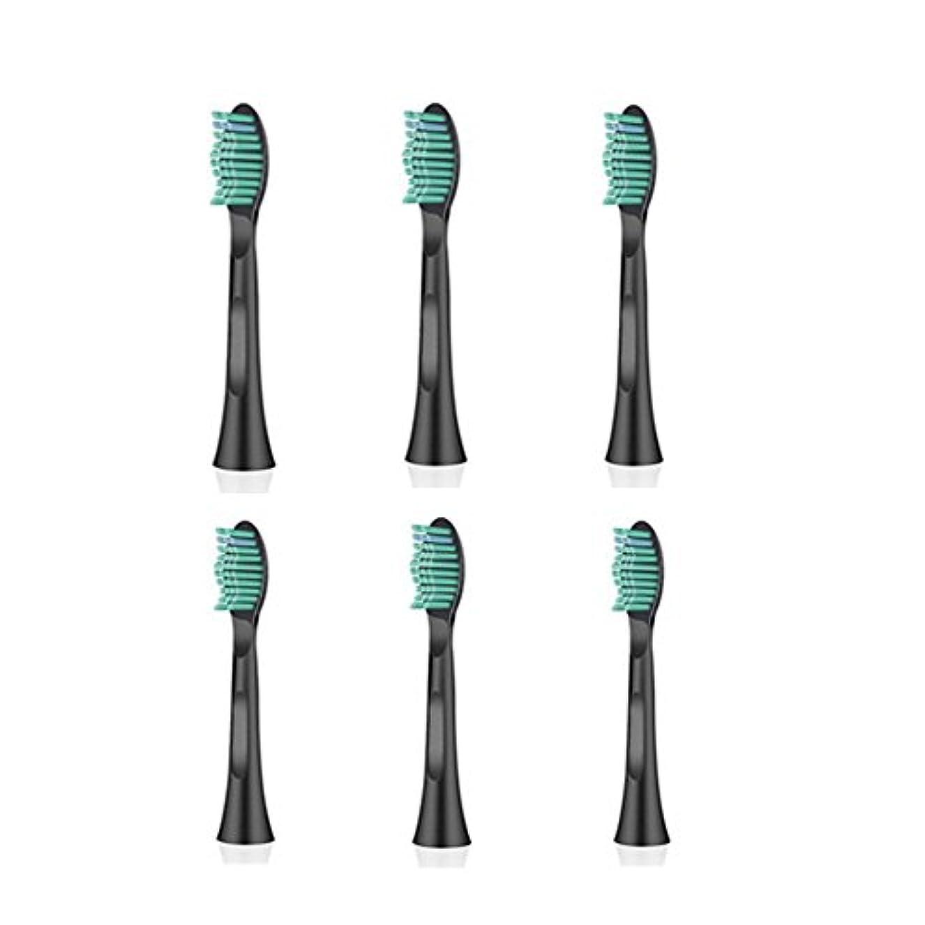 乱闘繁雑やろうITECHNIK 電動歯ブラシ 音波式歯ブラシ 替えブラシ 6本入 黒い