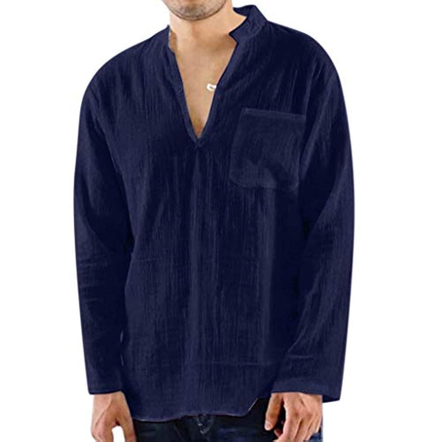 コール溶融バックWyntroy シャツ メンズ 単色 長袖 無地 ゆったり Vネック Tシャツ おしゃれ ストリート ファッション春夏秋 ゆったり カットソー ロングスリーブ カジュアル スウェット スポーツ人気 快適 綿麻薄いシャツ M~3XL