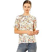 Allegra K Women's Ruffle Crew Neck Casual Tops Short Sleeves Floral Print Blouse