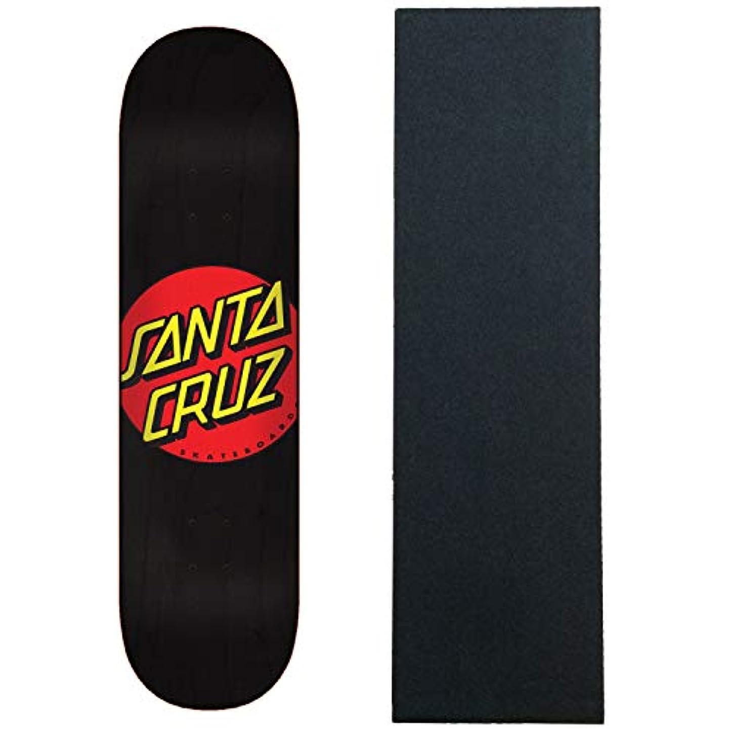 救い訴えるオペレーターSanta Cruz スケートボードデッキ クラシックドットワイドチップ ブラック/レッド 8.25インチ グリップ付き
