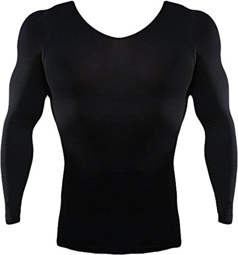 ロングTシャツ スパルタックス 機能性インナー トレーニング 補正下着 スポーツインナーウエア / ダイエット 猫背改善 姿勢矯正 (L, ブラック)